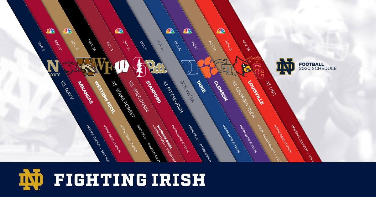 Nd Football Schedule 2020.Notre Dame Announces 2020 Football Schedule Notre Dame