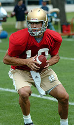 Irish starting quarterback Brady Quinn works through a practice with the team during the 2004 preseason.