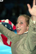 Mariel Zagunis, who will be a freshman at Notre Dame in 2004, won the first fencing gold medal for the United States since 1904.