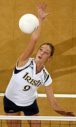 Junior middle blocker Carolyn Cooper had five kills and took part in half of Notre Dame's 12 blocks against BYU.