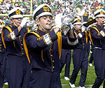 The Notre Dame marching band enters Notre Dame Stadium.