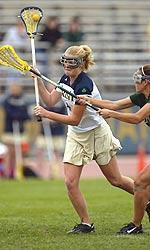 Lindsay Shaffer scored a pair of goals in Notre Dame's 10-5 loss to 16th-ranked James Madison.