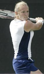Sophomore Catrina Thompson won in both singles and doubles vs. BYU.