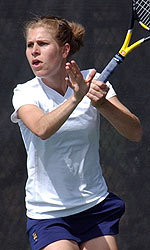 Junior Kristina Stastny became the first Notre Dame player ever to win three-set matches in helping Notre Dame to consecutive one-point victories.