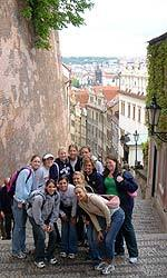 Adrianna Stasiuk (front right) and the Irish completed their two days in Prague and will now head south to Vienna.