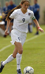 Kerri Hanks - pictured in action as captain of the U.S. Under-19 National Team - is a two-time winner of the prestigious USYSA Golden Boot Award.