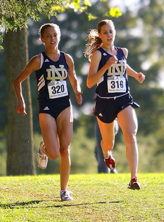 Senior All-Americans Stephanie Madia (left) and Molly Huddle (right) will lead the eighth-ranked Notre Dame women's cross country team into Saturday's Pre-National Meet in Terre Haute, Ind.