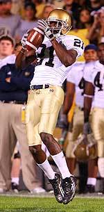 Senior WR Maurice Stovall has eight touchdown catches in Notre Dame's last three games played.