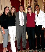 This photo-op at the BIG EAST banquet featured head coach Randy Waldrum with four Irish players who took home major awards that night and who now are among the final 15 candidates for the M.A.C. Hermann Trophy (from left, Katie Thorlakson, Kerri Hanks, Jen Buczkowski and Candace Chapman).