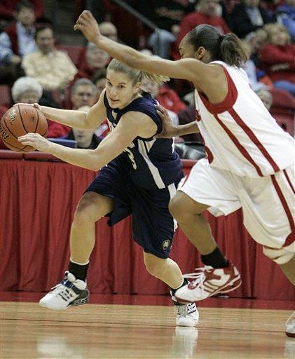 Megan Duffy drives around Wisconsin's Akiya Alexander.  (AP Photo/Andy Manis)