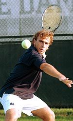 Junior Irackli Akhvlediani made a big jump following his rookie season and compiled a 26-14 mark in singles in 2004-05.