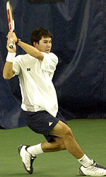 Senior captain Patrick Buchanan rallied to win after dropping the opening set for the seventh time in his career.