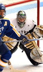 David Brown made a season-hogh 38 saves in Notre Dame's 2-1 loss to No. 14 Michigan State on Saturday night.