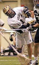 Matt Karweck netted five goals in last season's GWLL opener against Butler.  The Irish defeated the Bulldogs 22-6 in the Loftus Center.