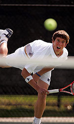 Junior Ryan Keckley won in both singles and doubles against the Hoyas.