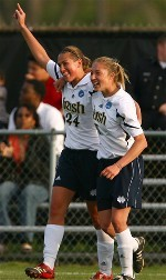 Jill Krivacek (left) and Amanda Cinalli celebrate the first goal in the 3-0 win over Mexico (photos by Matt Cashore).