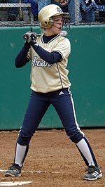 Katie Laing ened up two for three with an RBI in Notre Dame's 4- 1 victory over Pittsburgh in the quarterfinals of the BIG EAST Championship on Saturday, May 13th.