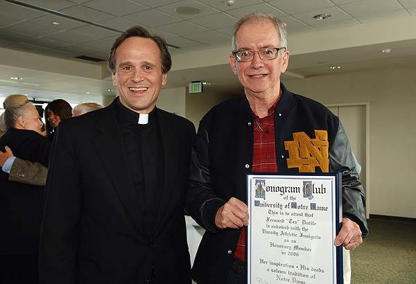"Fernand ""Tex"" Dutile received an honorary monogram at his retirement party on May 16."