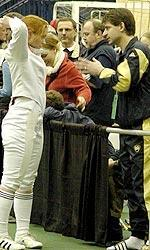 Zoltan Dudas tutored many top fencers at Notre Dame, including three-time epee All-American Kerry Walton (photo by Pete LaFleur).