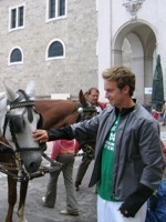 Eric Langenkamp petted a horse in Salzburg, but that was just a preview of his time at the Vienna zoo.