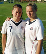 Notre Dame sophomores Brittany Bock (left) and Carrie Dew have been two of the top players for the U.S. Under-20 National Team throughout the calendar year of 2006.