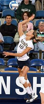 Junior Adrianna Stasiuk had 11 kills and 10 digs in the Irish 3-1 victory over the Vandals