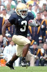 Junior Darius Walker carried 22 times for 99 yards in the season opener at Georgia Tech.  His 13-yard scamper in the third quarter proved to be the winning touchdown in Notre Dame's 14-10 win over the Yellow Jackets.