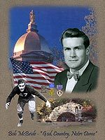 The Notre Dame football class of 1949 honors former Irish assistant football coach Bob McBride for his service to Notre Dame as a player and coach and to his country at this afternoon's game against Penn State.   The montage shown here and created by Ken Modak will be presented to McBride this weekend.