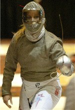 Mariel Zagunis - pictured during the 2006 NCAAs - joined teammate Becca Ward as the first U.S. fencers ever to reach an individual title bout at the World Championships.