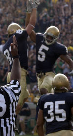 Jeff Samardzija and Rhema McKnight celebrate a touchdown against Purdue in Notre Dame's 35-21 victory over the Boilermakers last weekend.