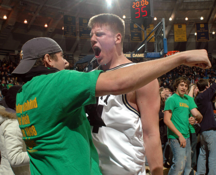Freshman Luke Harangody celebrates Notre Dame's victory over #4 Alabama on Thursday.