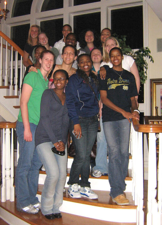 The 2006-07 Irish gather for a 'Brady Bunch' moment on the staircase at the home of Vincent Naimoli ('59) following a team dinner on Friday, Jan. 12 in Tampa.