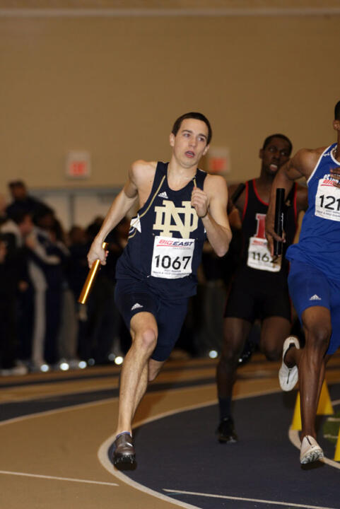 Junior Austin Wechter (shown here at the 2007 BIG EAST Indoor Championships) qualified for the NCAA Mideast Regional in the 400-meter hurdles with a season-best time of 52.34 seconds at Saturday's Drake Relays in Des Moines, Iowa. <i>(photo by Derrick Peynado)</i>