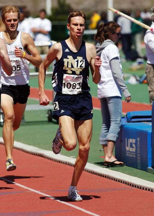 Senior Kurt Benninger is the fourth Notre Dame runner to qualify for the NCAA finals in his event, finishing 12th in the 1,500-meter semifinals (season-best 3:43.34) at the NCAA Outdoor Track &amp; Field Championships Thursday night in Sacramento, Calif. <i>(photo by Stephen Slade/BIG EAST Conference)</i>