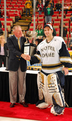 Irish goaltender David Brown, winner of the Bill Beagan Trophy as the CCHA Tournament MVP, signed his first pro contract with the Pittsburgh Penguins on June 29.