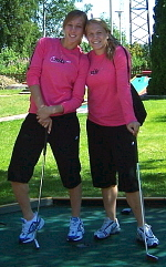 Notre Dame's Amanda Cinalli (left) and Michele Weissenhofer relax with a game of miniature golf during their day off with Team USA, at the 2007 Nordic Cup.