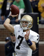Freshman Jimmy Clausen was Notre Dame's starting quarterback for the second straight game