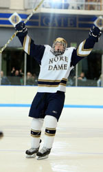 Senior defenseman Dan VeNard collected his first goal of the season in Notre Dame's 7-3 win over Lake Superior State.