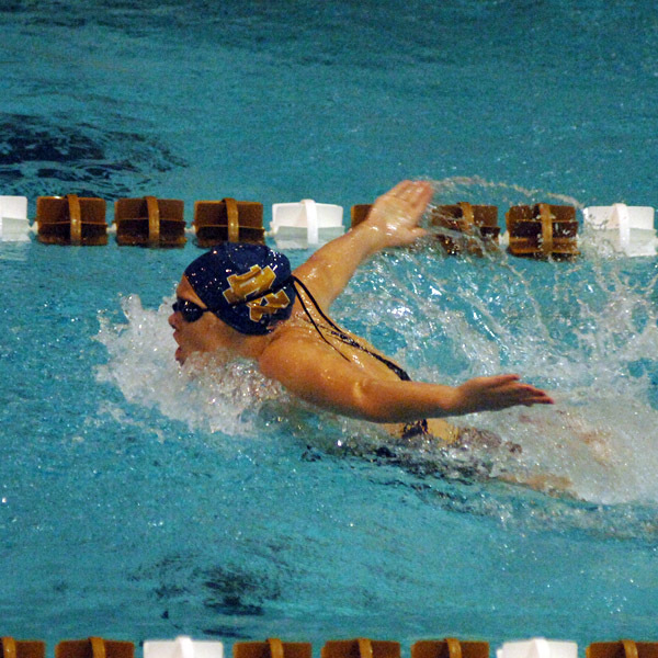 Freshman Katie Casey earned a victory in the 200 butterfly for the Irish against Toledo.