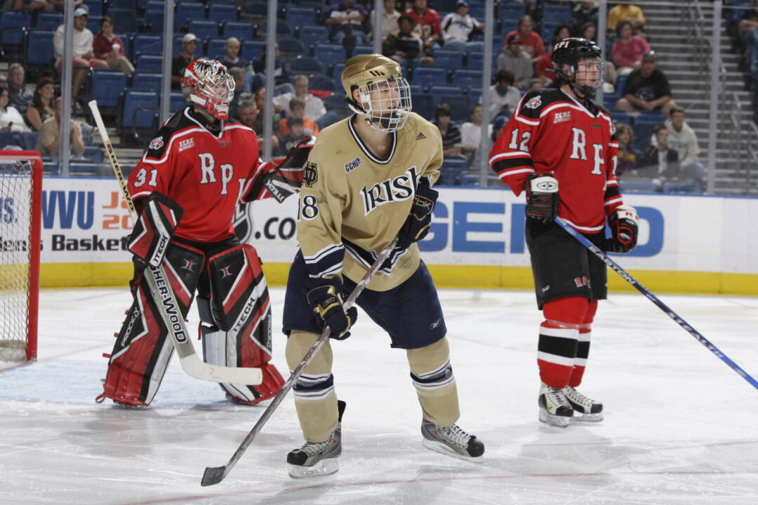 Evan Rankin's goal with 4:30 left in the game gave Notre Dame a 1-0 lead in Friday's semifinal game with Miami.