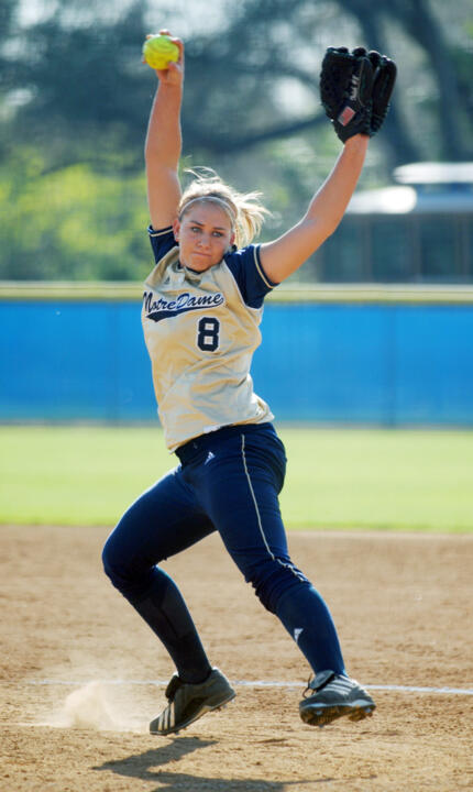 Junior Brittany Bargar has earned eight wins in 11 starts for the Irish softball team this season.