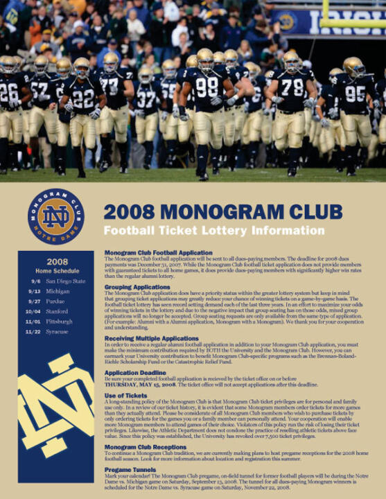 2008 Monogram Club Football Ticket Lottery Brochure