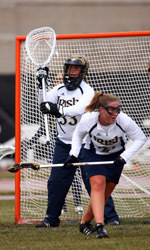 Goalkeeper Erin Goodman and the Notre Dame defense held Connecticut to just four goals in the first half of the 18-11 Irish win.