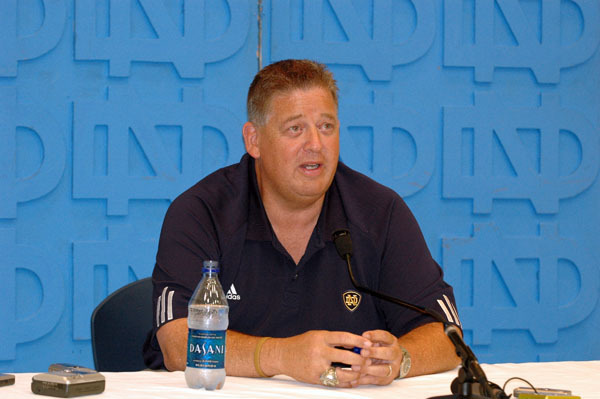 Charlie Weis kicked off spring practice by meeting with the media in the Guglielmino Auditorium.