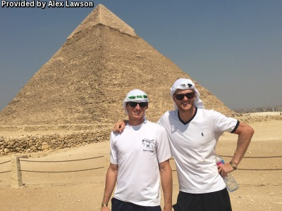 Lawson poses with Benjamin Lock during a trip to Egypt, during which the two played in four ITF tournaments.