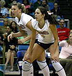 Junior Serinity Phillips (right) joined senior Justine Stremick on the BIG EAST's 2008 preseason volleyball team.