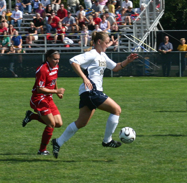 Senior forward/midfielder Brittany Bock (pictured) and senior forward Kerri Hanks are two of the 47 players named to the 2008 Missouri Athletic Club Hermann Trophy watch list, it was announced Tuesday afternoon by the National Soccer Coaches Association of America.