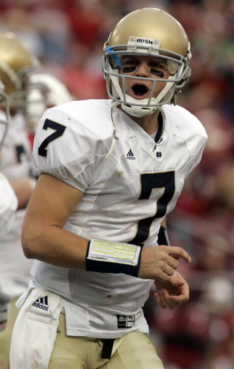 Sophomore quarterback Jimmy Clausen tied his career high with three touchdown passes in last Saturday's 21-13 win over San Diego State at Notre Dame Stadium.