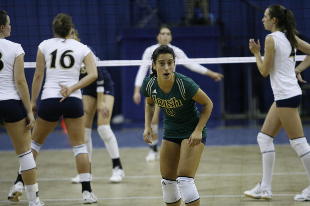 Freshman Frenchy Silva has recorded at least 10 digs in each of Notre Dame's six matches this season.