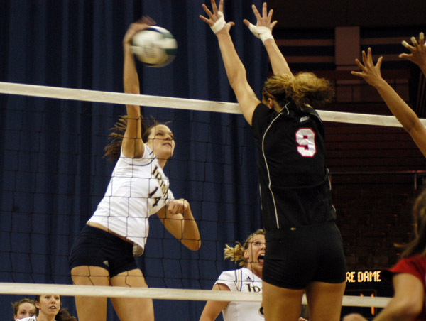 Senior Justine Stremick had eight kills without an error in a 3-2 loss at Villanova.